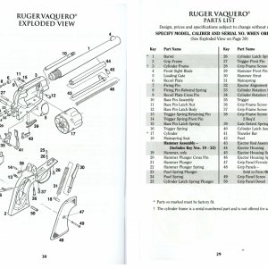 Ruger New Vaquero Exploded Diagram w Parts List